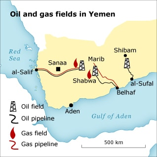 Economy Yemen - Oil Gas Map