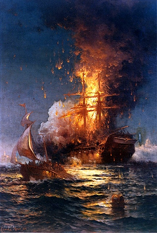 Painting of the burning of the USS Philadelphia by Tripolitanians, in the harbour of Tripoli, in 1804