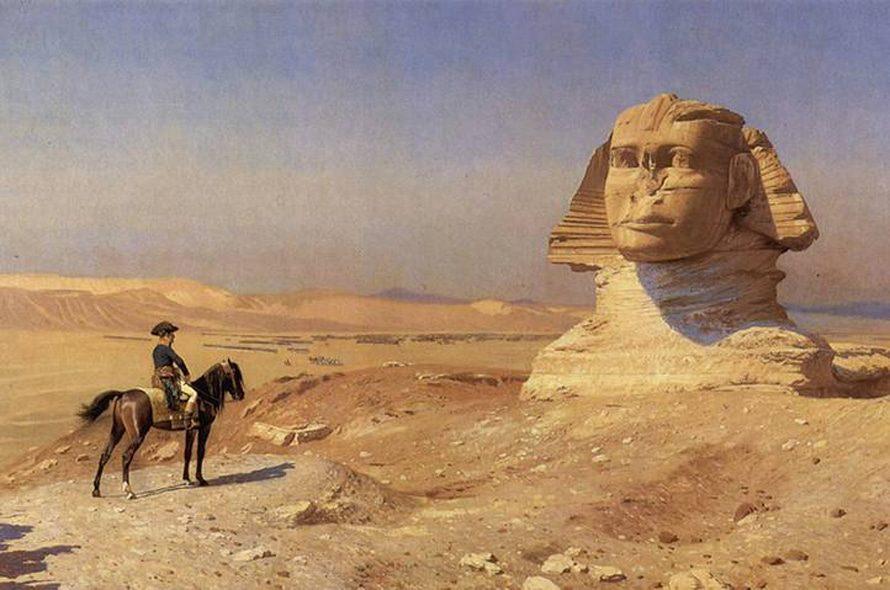 لوحة لنابليون يزور أبو الهول في الجيزة