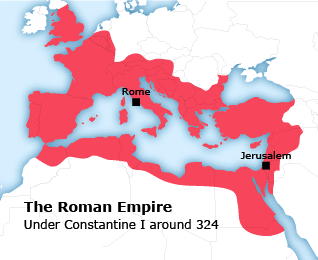 Map of the Roman Empire Under Constantine I around 324