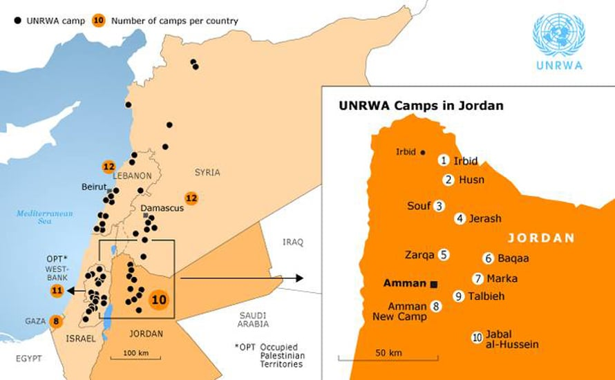 Population Jordan - UNRWA Camps in Jordan
