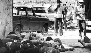 Massacre in the Palestinian refugee camps Sabra and Shatila in Beirut in 1982