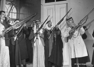 Soldiers of the Arab Liberation Army (ALA) showing their rifles