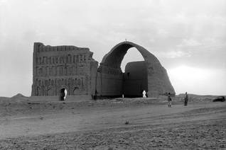 The ruins of the famous Taq-i Kisra of Ctesiphon, the remaining arch of the palace of the Persian king Khosrau