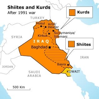 Iraq regions: Shiites and Kurds