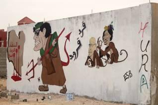 Benghazi caricatures of Gaddafi
