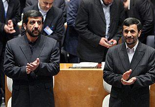 Head of the Islamic Republic of Iran Broadcasting (IRIB) Ezzatollah Zarghami (l) and President Mahmoud Ahmadinejad