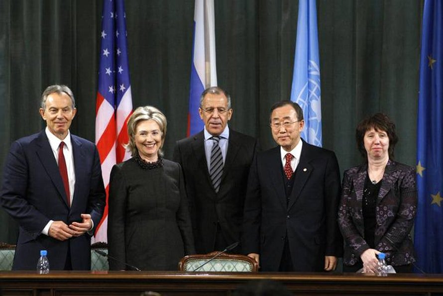 Representatives of the members of the Quarter meet in Moscow in 2010: Quartet Representative Tony Blair, US Secretary of State Hillary Clinton, Minister of Foreign Affairs of the Russian Federation Lavrov, Chairman of the United Nations Ban Ki-moon, and the High Representative of the Union for Foreign Affairs and Security Policy of the EU Catherine Ashton right of return