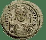 الإمبراطور يوستنيانوس على قطعة نقود