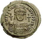 Emperor Justinian on a coin