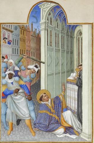 استشهاد القديس مرقس الإنجيلي وهو يُسحل عبر شوارع الاسكندرية بحبل حول عنقه (عام 68 للميلاد)