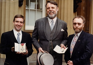 John McCarthy, Terry Waite and Brian Keenan, after their release, at Buckingham Palace in 1992