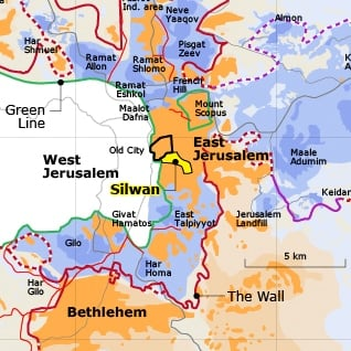 Map of East Jerusalem and the Silwan neighbourhood Israeli settlements