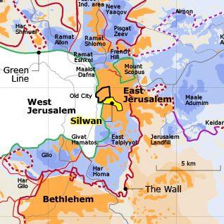 خارطة القدس الشرقية وحي سلوان
