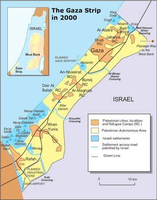 خارطة تُظهر المستوطنات اليهودية في قطاع غزة عام 2000، قبل إخلائها عام 2005 Soure: PASSIA اضغط للتكبير