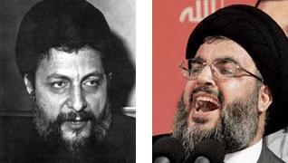 الإمام موسى الصدر (يسار) وزعيم حزب الله السيد حسن نصر الله