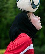 Iranian women playing soccer