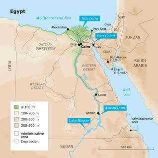 Geography Egypt - Egypt state borders