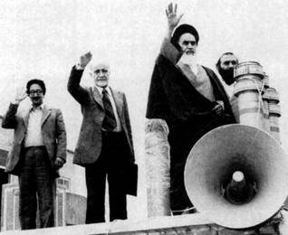 From l. to r.: Abolhassan Banisadr (first elected President of the Islamic Republic), Mehdi Bazargan (interim Prime Minister) and Ayatollah Ruhollah Khomeini in 1979