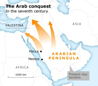 Map of the Arab conquest in the seventh century