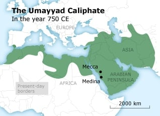 Map of the Umayyad Caliphate in the year 750 CE