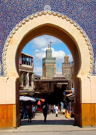 Bou Inania Madrasa in Fez, seen through the Bab Bou Jeloud port