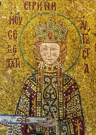 Mosaic portrait of Empress Irene (752-803) Photo Shutterstock
