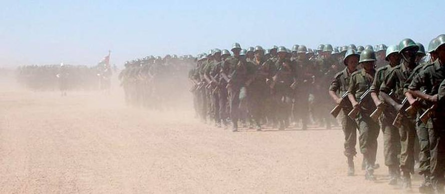 Polisario troops training in the desert