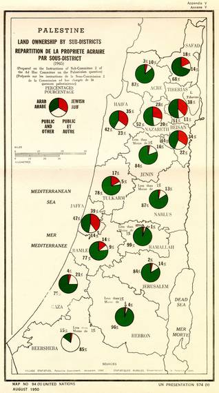 Official UN map showing the proportion of Arabs (Palestinians) and Jews in Palestine in 1945 / Source: UN