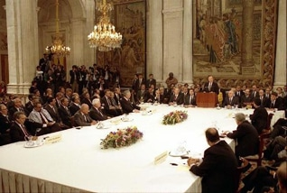 US President George Bush Sr. speaking at the Madrid Conference