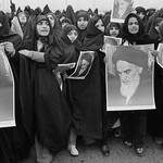 Female Iranian demonstrators islamic revolution