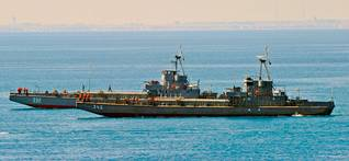 Two amphibious landing craft ships of the Egyptian Navy