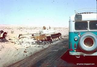 Egyptian T-54 tank in the Sinai Desert