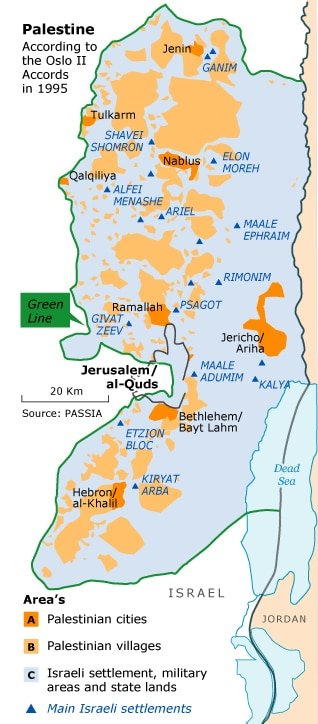 map of palestine according to the oslo accords