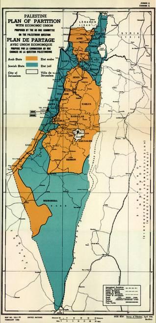 الخارطة الرسمية للأمم المتحدة بشأن خطة التقسيم لعام 1947