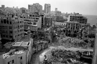 Devastation in Beirut during the Civil War (1978) october war 1973 oslo accords