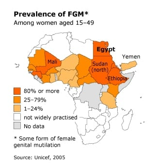 infographic on prevalence of FGM in Egypt