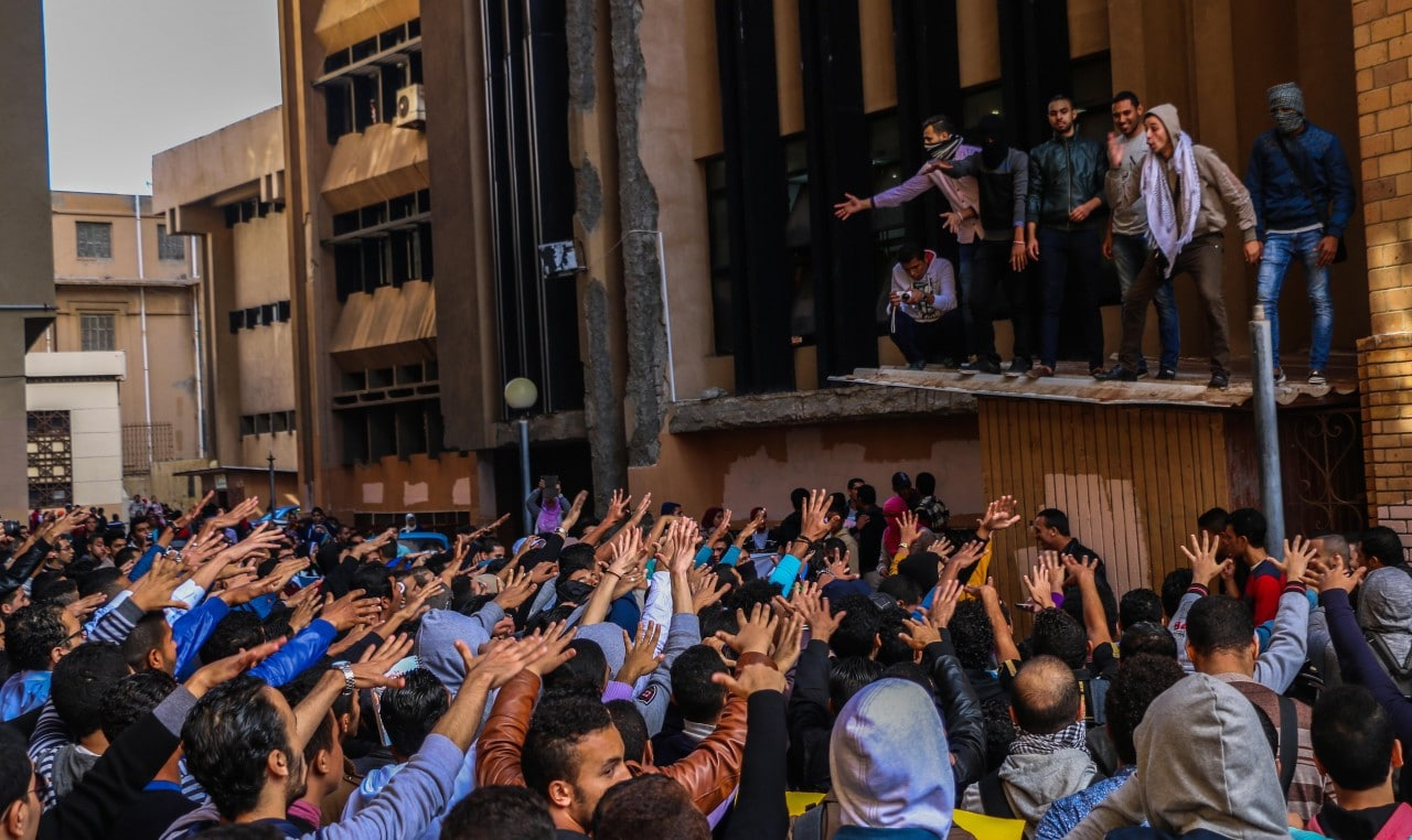 Students from Alexandria university participate in a demonstration against Mubarak's verdict. ( XINHUA/Asmaa Abdellatif)