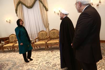 Iranian President Hassan Rowhani and Minister of Foreign Affairs Mohammed Javad Zarif meet EU foreign policy chief Catherine Ashton, Tehran, 9 March 2014