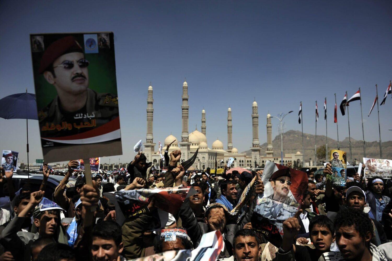 Yemenis support former President Ali Abdullah Saleh's son Ahmed Ali Saleh