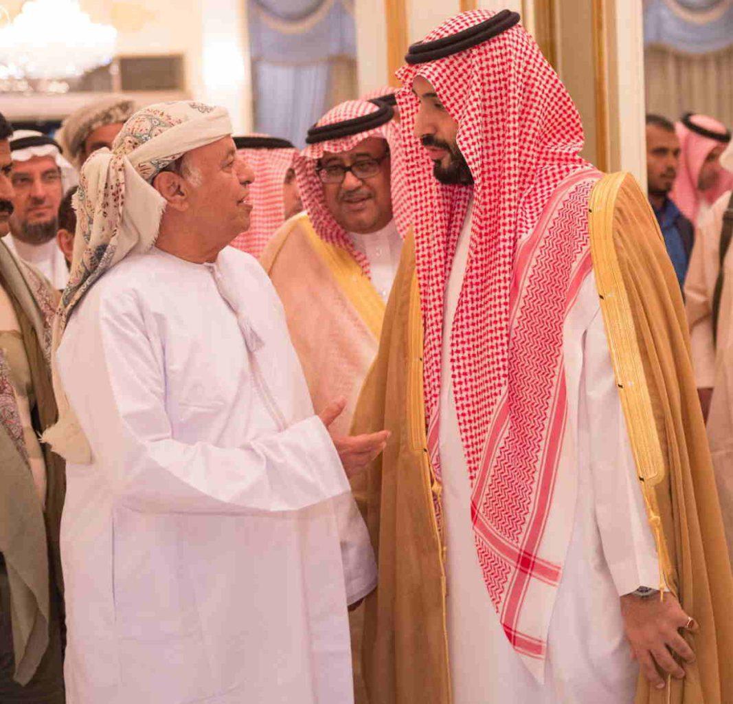 27 Mar 2015, Riyadh, Saudi Arabia --- (150326) -- RIYADH, March 26, 2015 (Xinhua) -- Yemeni President Abd-Rabbo Mansour Hadi(L) is welcomed by Saudi Arabian Defense Minister Mohammed Bin Salman upon his arrival at the Riyadh Air Base in Saudi Arabia on March 26, 2015. Saudi official media reported on Thursday evening that Hadi has arrived in the Saudi capital city of Riyadh.(Xinhua/SPA) --- Image by © SPA/Xinhua Press/Corbis