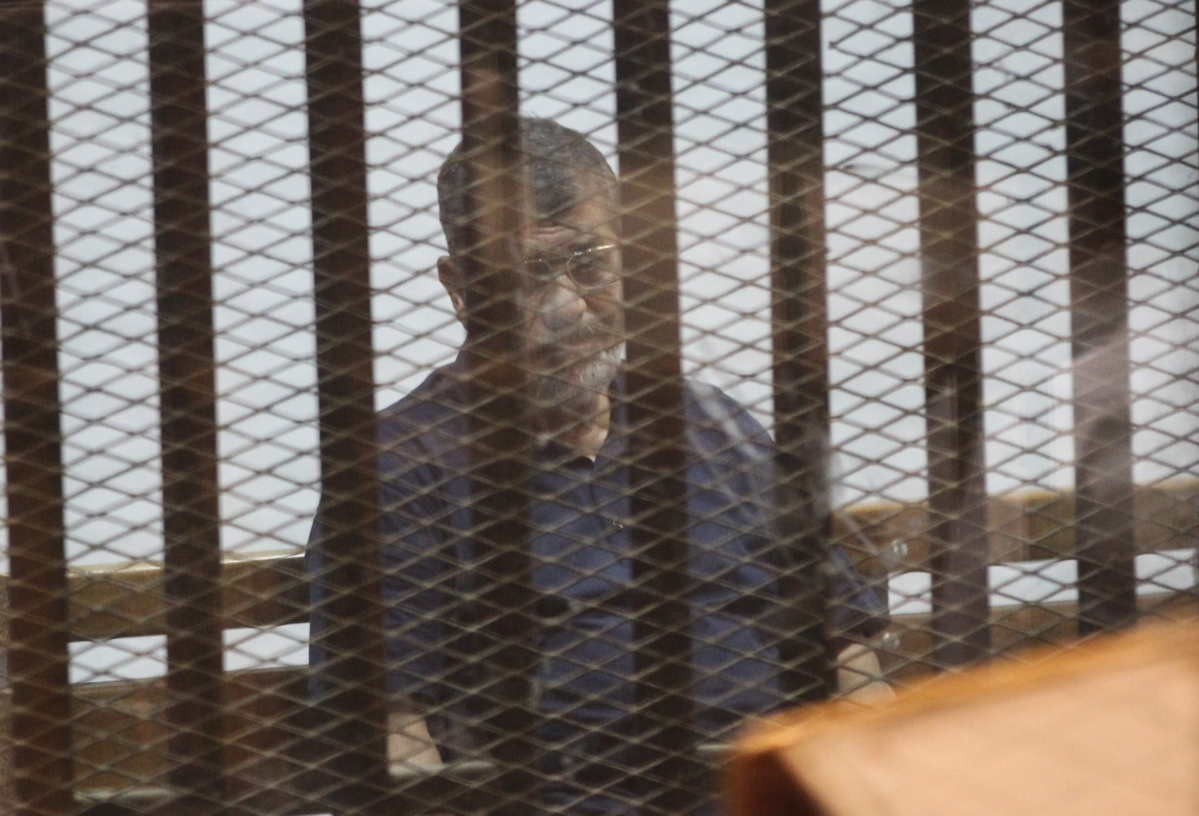 Muhammad Morsi in court trial, May 2015