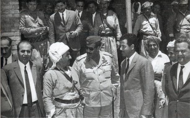 Baath party leader Saddam Hussein with KDP leader Mustafa Barzani