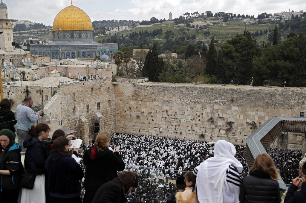 The Western Wall of the Temple Mount, built by Herod circa 19 BCE, is now a holy place in Jewish religion