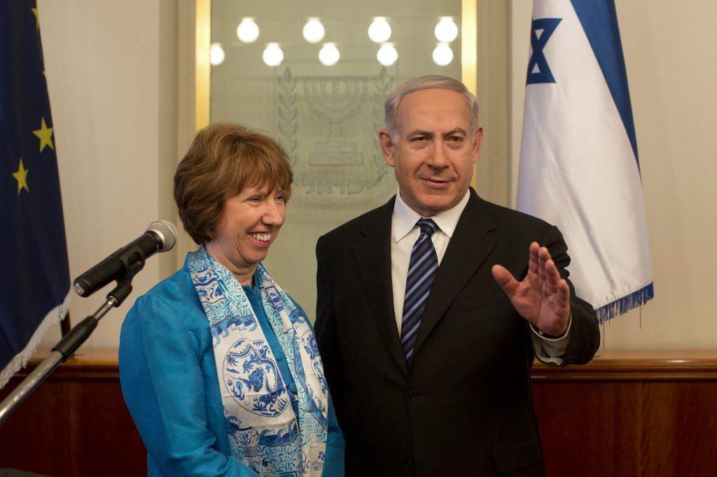 الممثل السامي للإتحاد الاوروبي كاثرين اشتون و رئيس الوزراء الإسرائيلي بينيامين نيتنياهو.