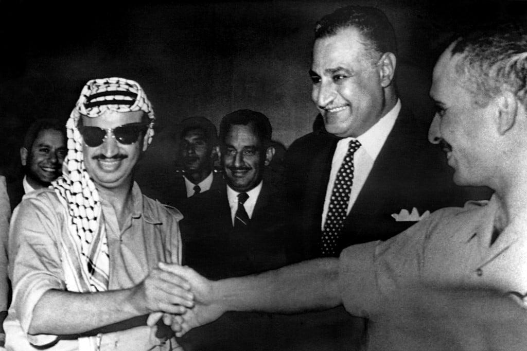Yasser Arafat Saudi King Faysal gyptian President Nasser and King Hussein of Jordan PLO