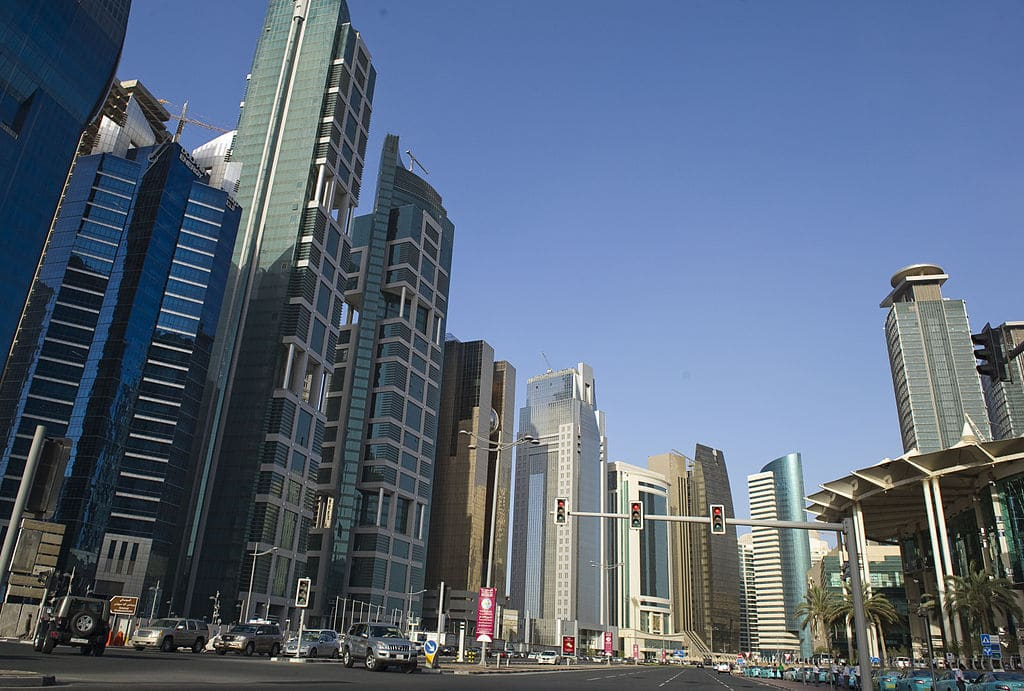 Picture showing skyscrapers in Doha