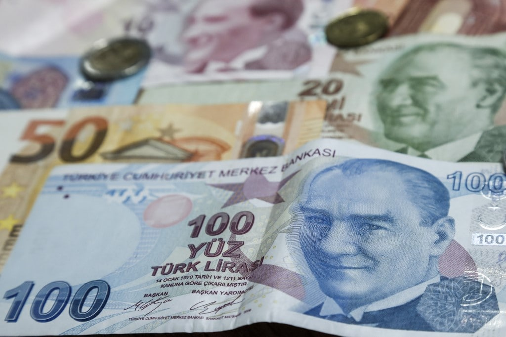 Cypriot capital Nicosia shows an assortment of Turkish lira and Euro banknotes