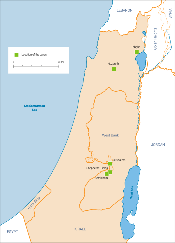Map showing location of archaeological sites in Nazareth