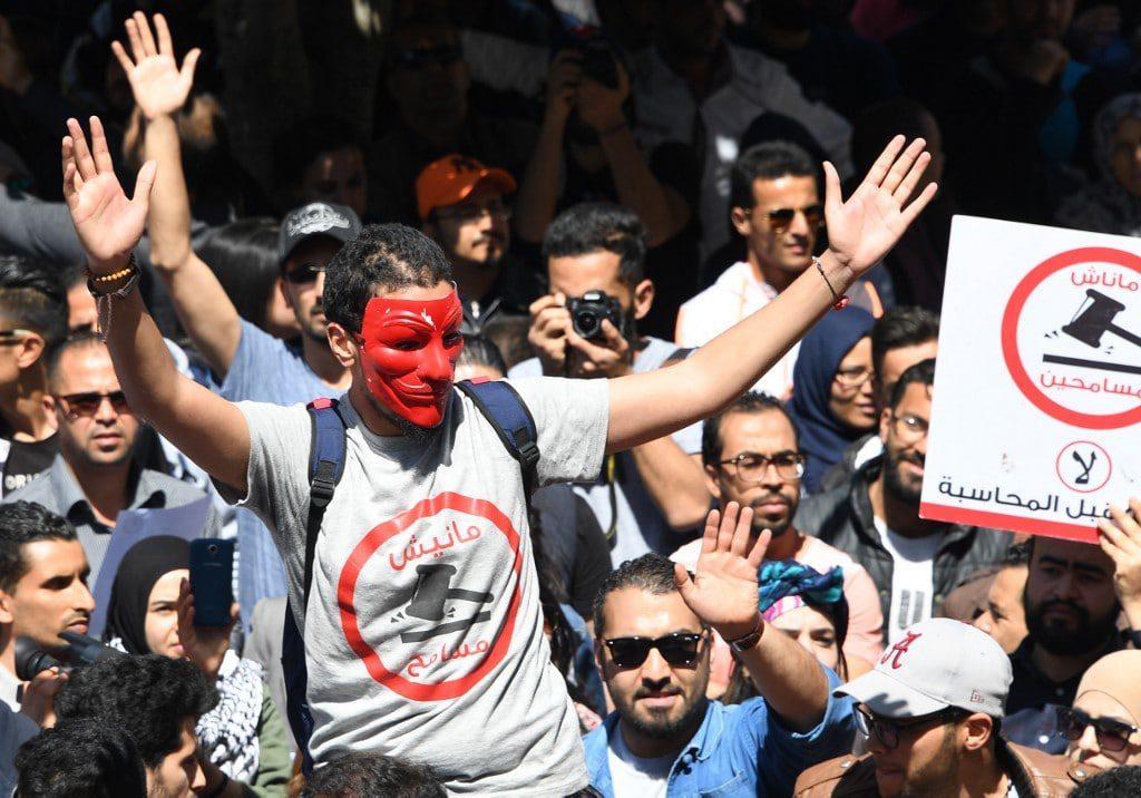 Tunisian protester against corruption